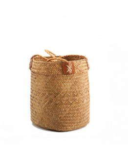 SEAGRASS BASKET WITH LEATHER LARGE   BROWN