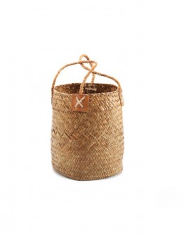 SEAGRASS BASKET WITH LEATHER SMALL   BROWN