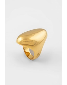 SPHERE OVAL SILVER RING GOLD  PLATED