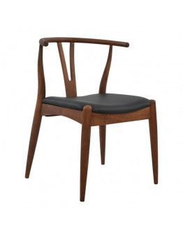 DINING CHAIR WALNUT COLOR WITH VEGAN LEATHER BLACK SEAT