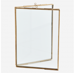 STANDING DOUBLE PHOTO FRAME BRASS