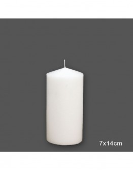 CANDLE  WHITE,D7x14cm