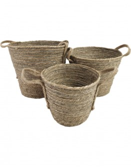 BASKET WICKER  WITH HANDLES LARGE (38x33)